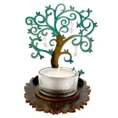 AMADEA Dřevěný svícen strom zelený s bílými ozdobami, výška 10 cm