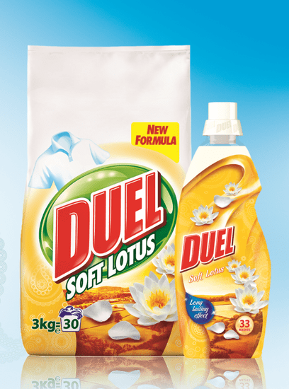 DUEL Soft Lotus prašek, 3 kg + Soft Lotus mehčalec, 1 l