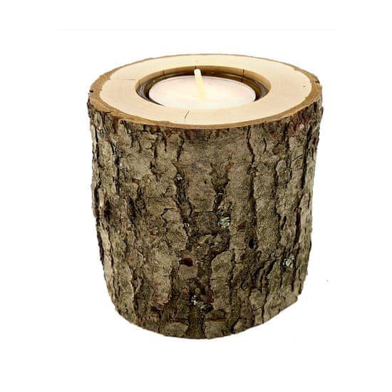 AMADEA Dřevěný svícen kůrový kmen, masivní dřevo, výška 8 cm