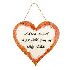 AMADEA Dřevěné srdce s textem Láska, smích a přátelé jsou tu vždy vítáni, 21 x 20 cm