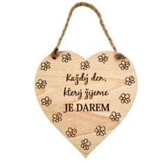AMADEA Dřevěné srdce s textem Každý den, který žijeme.., masivní dřevo, 16 x 15 cm