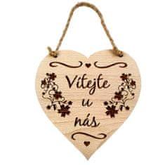 AMADEA Dřevěné srdce s textem Vítejte u nás, masivní dřevo, 16 x 15 cm