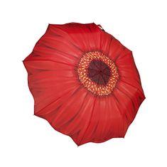 Blooming Brollies Damski zložljiv avtomatski dežnik Rdeča marjetica (Galleria Red Daisy) GFFRDN