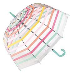 Esprit Ženski trsni dežnik Long AC Domeshape Transparent Stripe s 53223