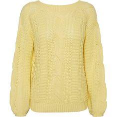 Vero Moda Ženski pulover VMALLIE LS V-BACK CABLE BLOUSE BOO Pale Banana (Velikost S)
