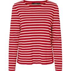 Vero Moda Női pulóver VMSAILOR LS STRIPE BLOUSE BOO Goji Berry PRISTINE AND LIGHT GOLD BUTTONS (méret S)