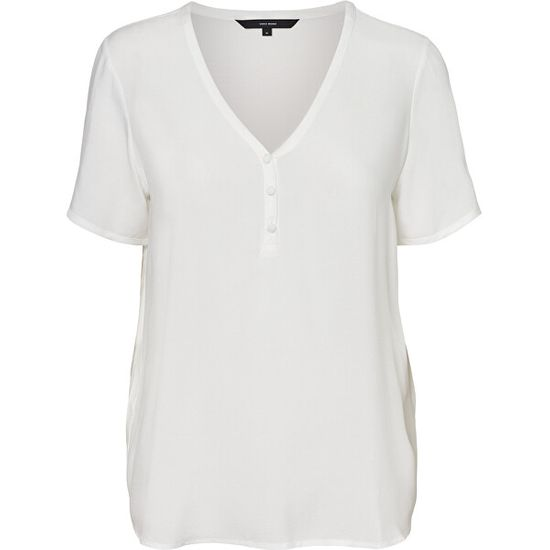 Vero Moda Koszulka VMNINA SS BUTTON TOP GA Snow White