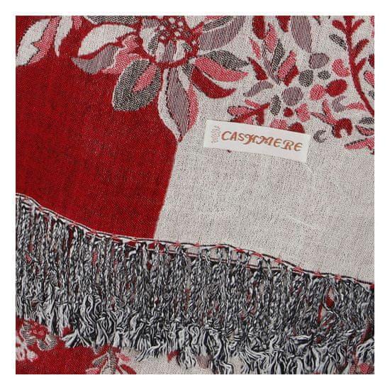 Cashmere Luxusní dámská šála Flower s třpytkami, červená