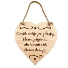 AMADEA Dřevěné srdce s textem Člověk nežije jen z lásky.. , masivní dřevo, 16 x 15 cm
