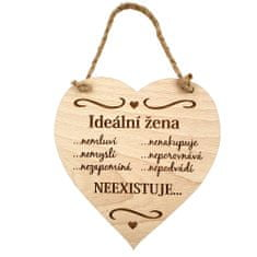 AMADEA Dřevěné srdce s textem Ideální žena..., masivní dřevo, 16 x 15 cm