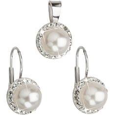 Evolution Group Sada s perlami a krystaly Swarovski 39091.1 bílá (náušnice, přívěsek) stříbro 925/1000