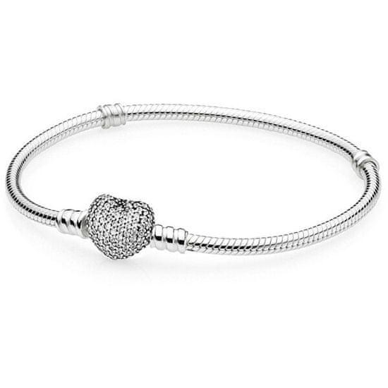 Pandora Strieborný náramok s trblietavým srdcom 590727CZ