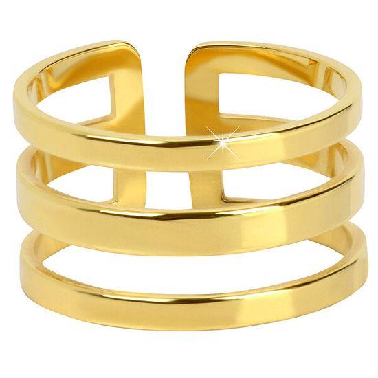 Troli Eleganten trojni prstan iz pozlačenega jekla