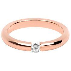 Troli Něžný růžově pozlacený ocelový prsten s krystalem (Obvod 50 mm)
