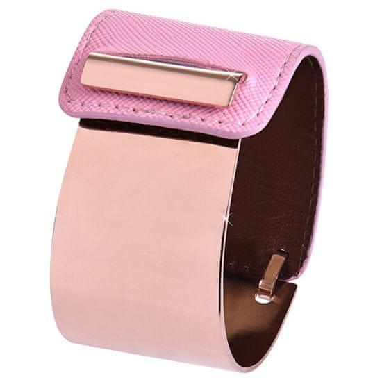 Troli Moda bransoletka wykonane ze stali i skóry brąz / różowy