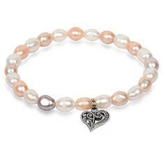 JwL Luxury Pearls Fina zapestnica iz pravih biserov s kovinskim srcem JL0293