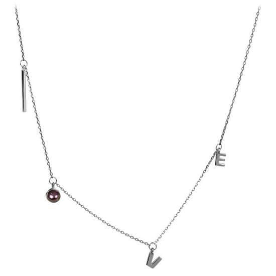 JwL Luxury Pearls Kocham srebrny naszyjnik z prawdziwą perłą JL0339 srebro 925/1000
