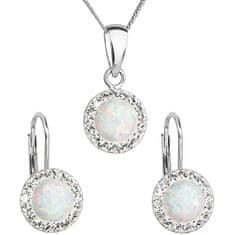 Evolution Group Błyszczący zestaw biżuteriiz kryształkamiPreciosa 39160.1 i biały opal (Kolczyki,Łańcuch,wisiorek )