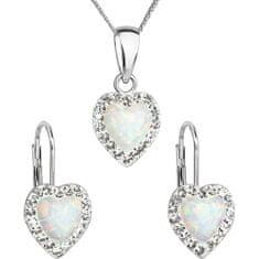 Evolution Group Srdíčková souprava šperků 39161.1 & white s.opal (náušnice, řetízek, přívěsek) stříbro 925/1000