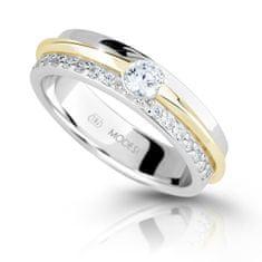 Modesi Dvobarvni srebrni prstan z cirkoni M16023 (Obseg 56 mm) srebro 925/1000