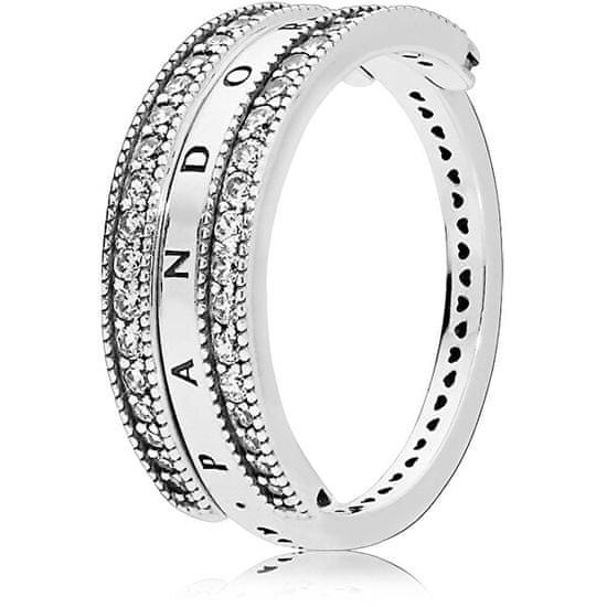 Pandora Luxusní stříbrný prsten 197404CZ stříbro 925/1000
