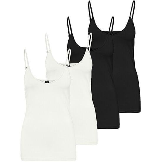 Vero Moda 4 PACK - dámské tílko VMMAXI 10247491 Bright White,Black