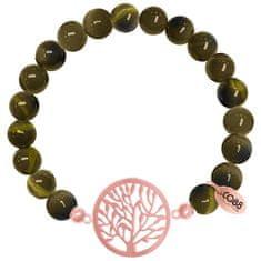 CO88 Bransoletka wykonana z zielonego tygrysiego oka ozdobiona drzewem życia 865-180-080019-0000