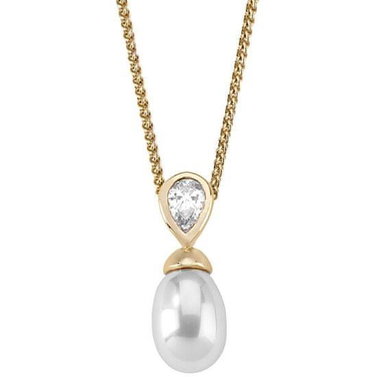 Majorica Stříbrný náhrdelník s perlou a kamínkem 12268.01.1.000.010.1 (řetízek, přívěsek) stříbro 925/1000