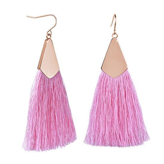 Troli Rózsaszín bojt fülbevaló rózsaszín aranyozott akasztóval