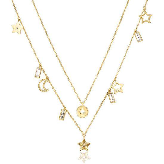 Brosway Dvojna pozlačena ogrlica z obeski Chant BAH04