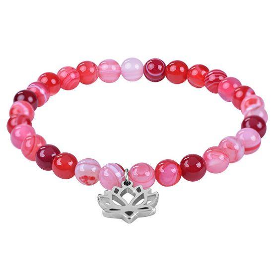 Troli Gyöngyös lótuszvirág karkötő rózsaszín achát kővel