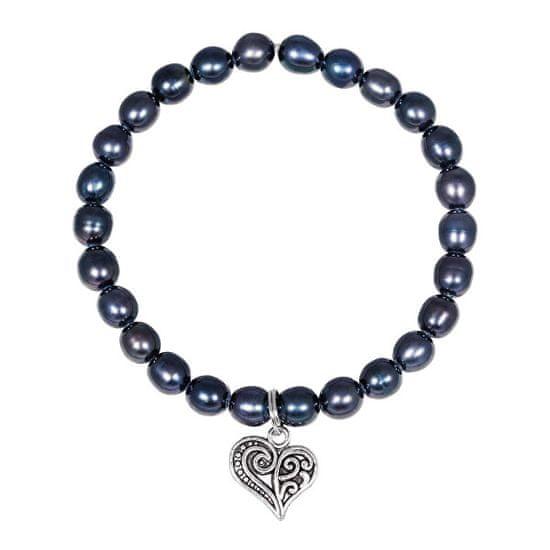 JwL Luxury Pearls Pearl bransoletka z metalem z sercem JL0525