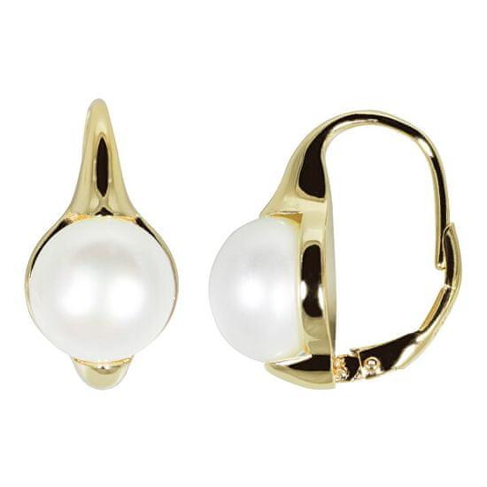 JwL Luxury Pearls Pozlačeni uhani s pravimi biseri JL0532
