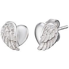Engelsrufer Stříbrné náušnice Srdce s andělským křídlem a zirkony ERE-LILHW-ST