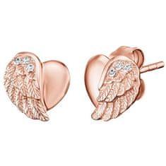 Engelsrufer Růžově zlacené stříbrné náušnice Srdce s andělským křídlem a zirkony ERE-LILHW-STR