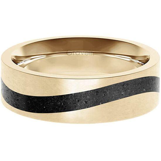 Gravelli Betonový prsten Curve zlatá/antracitová GJRWYGA113