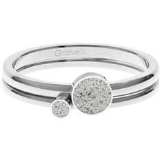 Gravelli Sada ocelových prstenů s betonem Double Dot ocelová/šedá GJRWSSG108 (Obvod 56 mm)