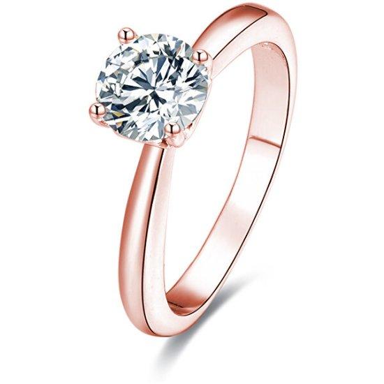 Beneto Różowe złocone Srebrny pierścień z kryształkami AGG201 srebro 925/1000