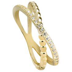 Beneto Pozlacený dvojitý prsten ze stříbra AGG196 (Obvod 60 mm) stříbro 925/1000