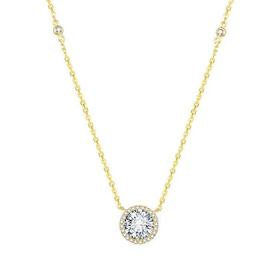 Beneto Pozlátený strieborný náhrdelník s kryštálmi AGS1135 / 47-GOLD striebro 925/1000