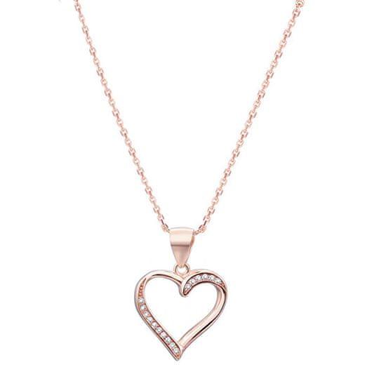 Beneto Srebrna ogrlica iz srebrnega zlata s srcem AGS289 / 47-ROSE srebro 925/1000