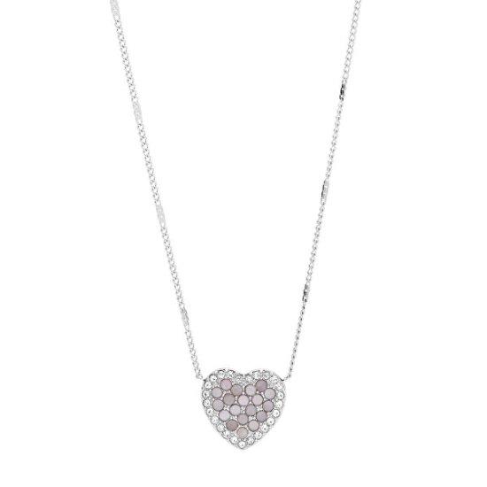 Fossil Třpytivý ocelový náhrdelník srdce JF03415040
