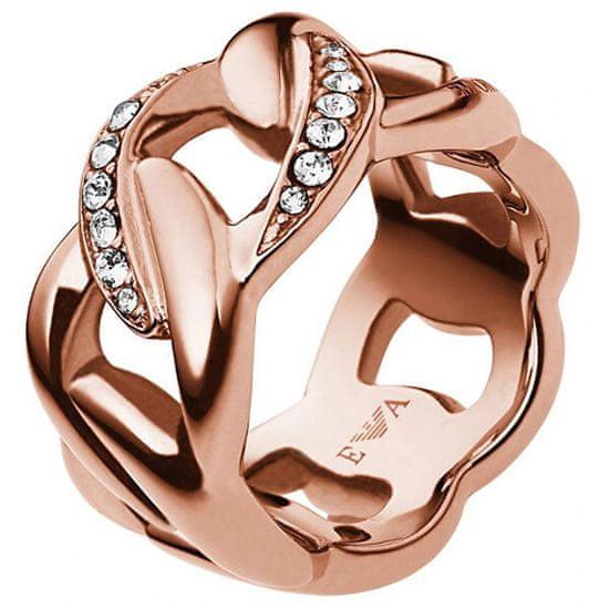 Emporio Armani Růžově zlacený ocelový prsten EGS1990221