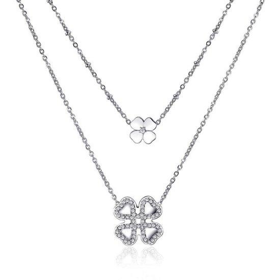 S'Agapõ Dvojitý oceľový náhrdelník sa štvorlístkami ECHO SEH03