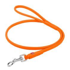 Wau Dog Kulaté kožené vodítko oranžové barvy 122cm