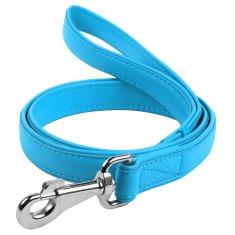 Wau Dog Ploché kožené vodítko modré barvy 122cm