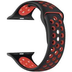 4wrist Silikonový řemínek pro Apple Watch - Černá/Červená 42/44 mm