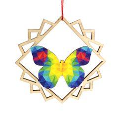 AMADEA Dřevěná ozdoba barevná motýl 9 cm