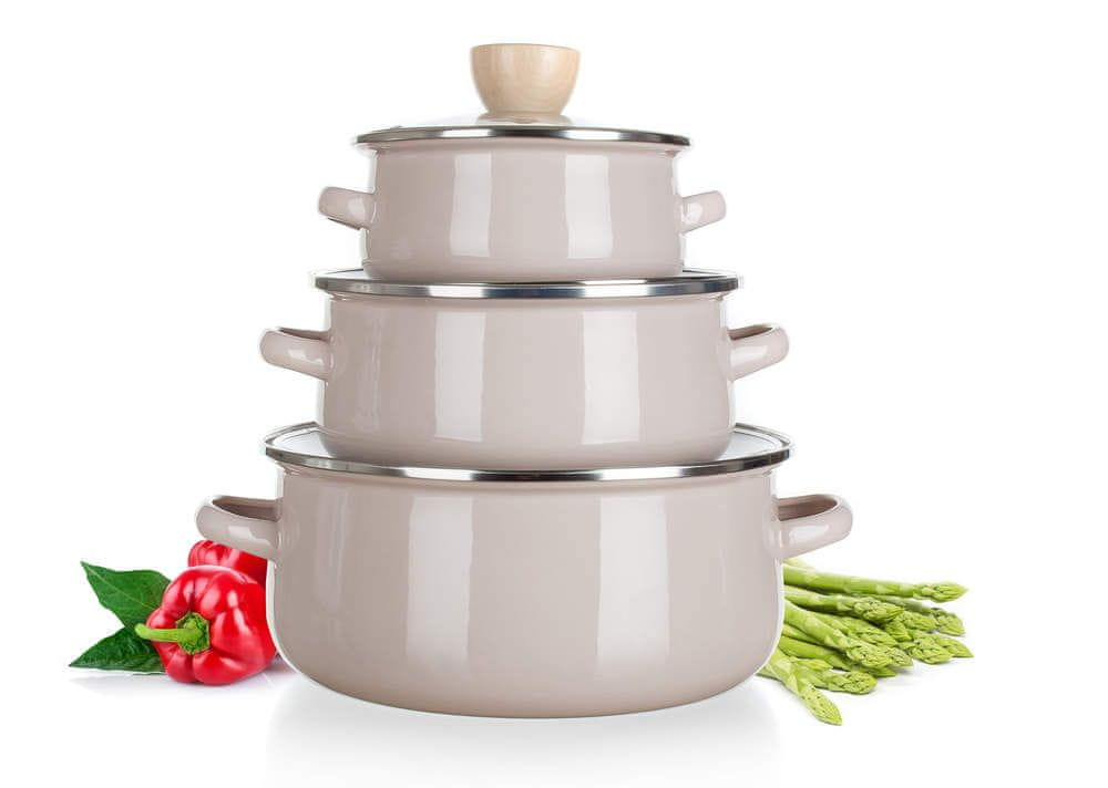 Banquet Sada smaltovaného nádobí NATURAL Pale, 6 ks