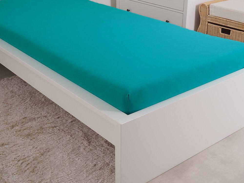 B.E.S. Petrovice Prostěradlo Jersey česaná bavlna MAKO 180x200 cm zelený tyrkys